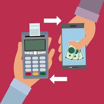 Mão com dataphone com recibo e smartphone com contas