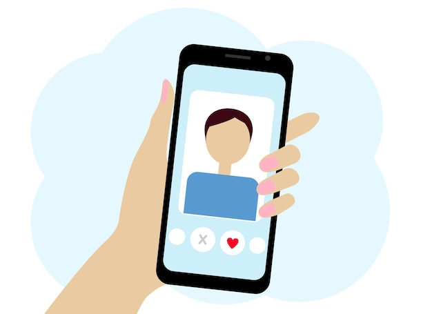 Mão com desenho vetorial de telefone. o telefone tem um programa de namoro online.