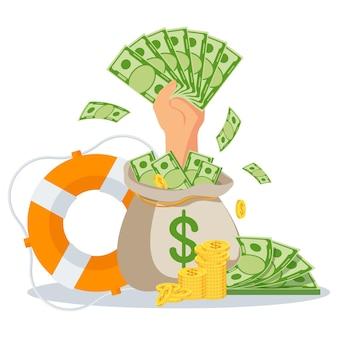 Mão com dinheiro sai de um saco de dinheiro. empréstimos rápidos a taxas de juros baixas. assistência financeira, suporte. boia salva-vidas como uma metáfora para ajuda financeira. ilustração em vetor plana.