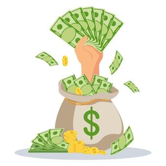 Mão com dinheiro sai de um saco de dinheiro. empréstimos rápidos a taxas de juros baixas. assistência financeira, suporte. ilustração em vetor plana.