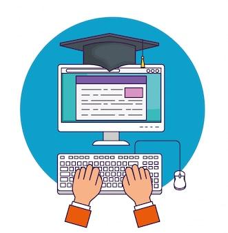 Mão com educação de documentos de computador para estudar