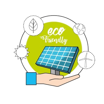 Mão com energia solar para cuidar do meio ambiente