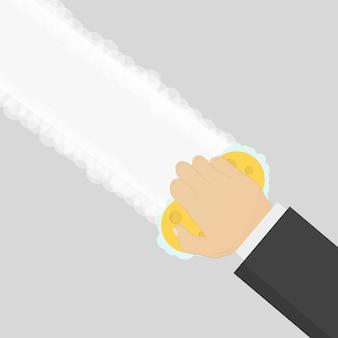 Mão com esponja de espuma de borracha limpando a superfície.