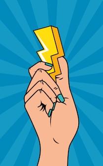 Mão com estilo de pop art de raio