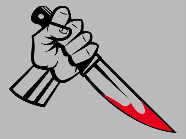 Mão com faca manchada de sangue