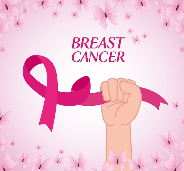 Mão com fita rosa, símbolo do mês mundial da conscientização do câncer de mama com decoração de borboletas