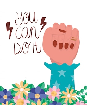 Mão com flores e folhas de vetor de empoderamento de mulheres