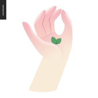 Mão com folha. linguagem de sinais