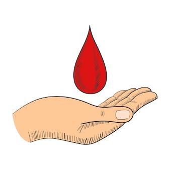 Mão, com, gota sangue, símbolo