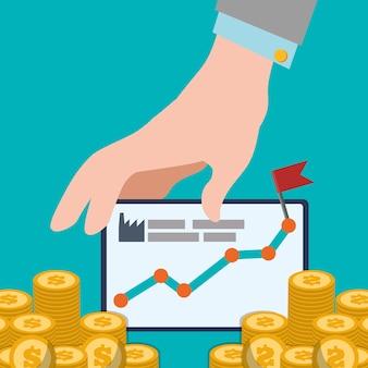 Mão com gráfico de placa aumentar design de moedas