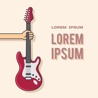 Mão com guitarra - modelo de pôster. conceito para impressão e promoção de concertos musicais, festivais e festas.