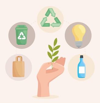 Mão com ícones de ecologia