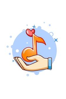 Mão com ilustração dos desenhos animados do ícone de notas musicais