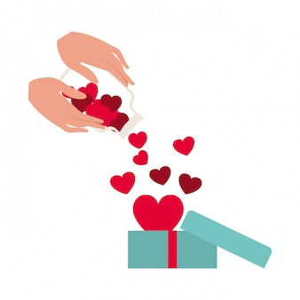 Mão, com, jarro, e, corações, isolado, ícone