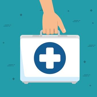 Mão com kit médico ícone isolado