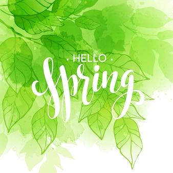 Mão com letras design de estilo primavera em fundo de folha em aquarela. letras de caligrafia desenhada à mão na primavera