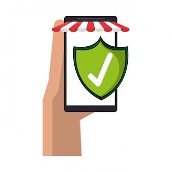 Mão com loja online de smartphone