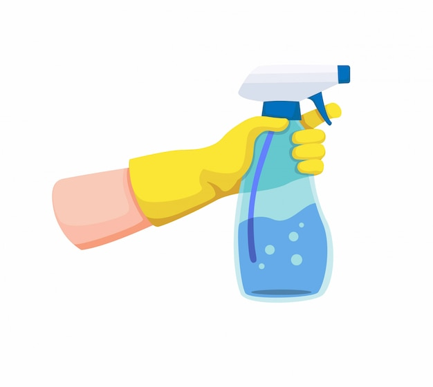 Mão com luva amarela segurando a garrafa de plástico transparente de spray para desinfetante ou limpeza. ilustração dos desenhos animados sobre fundo branco