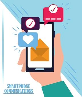 Mão com marca de seleção de sms de e-mail de smartphone Vetor Premium