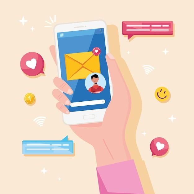 Mão com mensagens de smartphone