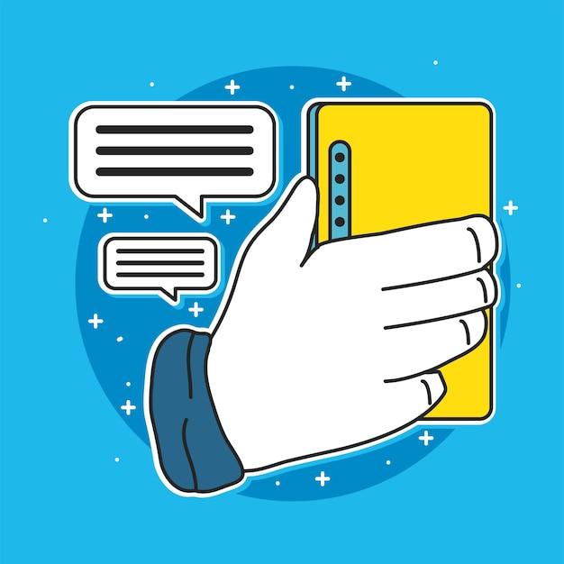 Mão com mensagens de texto móveis