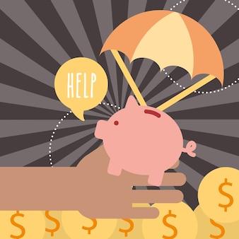 Mão com moedas porquinhos ajuda doar caridade