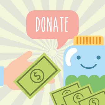 Mão com notas de dinheiro e jarra doar caridade
