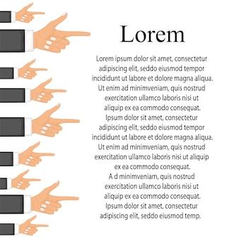 Mão com o dedo apontando. conceitos de design moderno plana para banners web, sites da web
