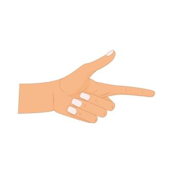 Mão com o dedo apontando, dedos apontando, mão desenhada mãos isoladas no fundo branco. ilustração vetorial.