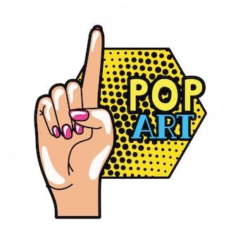 Mão com o dedo indicador até pop art