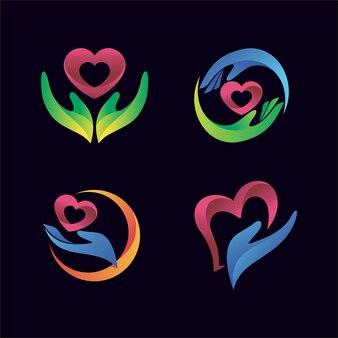 Mão com o ícone de um coração para logotipo de saúde e clínica