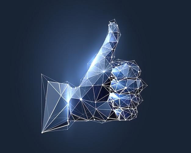 Mão com o polegar para cima no estilo de estrutura de arame baixo polígono.