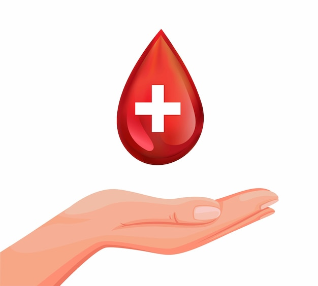 Mão com o símbolo de gota de sangue para doação de sangue para o conceito de caridade no desenho animado