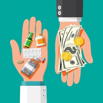 Mão com pilha de dinheiro e frascos de drogas e pílulas