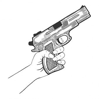 Mão com pistola, arma de fogo para proteção