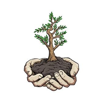 Mão com planta para ir cartaz de campanha verde