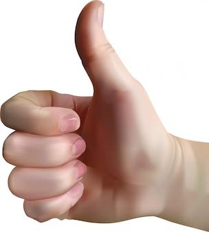 Mão com polegares para cima isolado do fundo