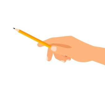 Mão, com, predios, lápis