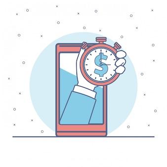 Mão com relógio de dinheiro no smartphone