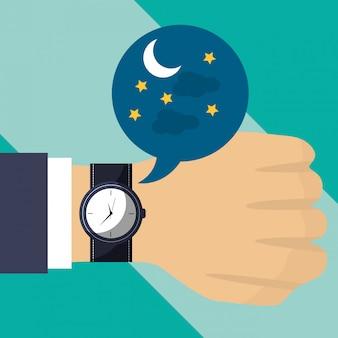 Mão com relógio de pulso tempo noite
