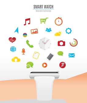 Mão com relógio inteligente e ícones de função de relógio inteligente flutuando por cima, tecnologia wearable