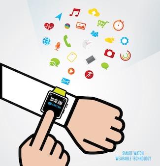 Mão com relógio inteligente e outra mão toque o relógio e ícones de função de relógio inteligente flutuando por cima, tecnologia wearable