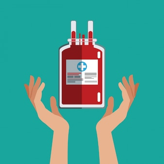 Mão com saco iv doa sangue