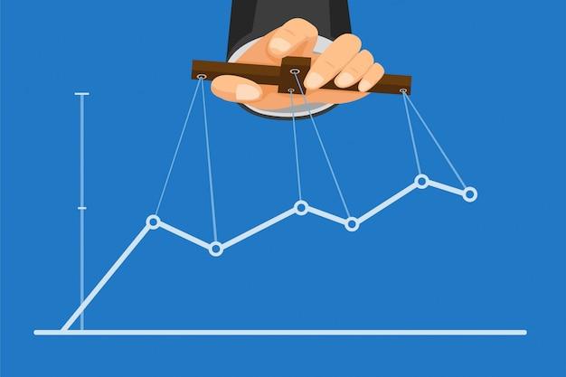 Mão com segurando a vara com corda, mestre de fantoches, controlando o gráfico de negócios na ilustração plana dos desenhos animados Vetor Premium