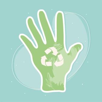 Mão com símbolo de reciclagem