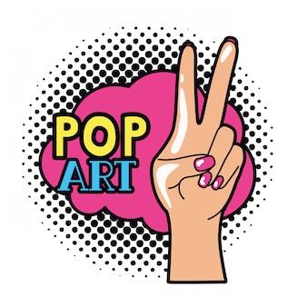 Mão com sinal de paz e amor pop art