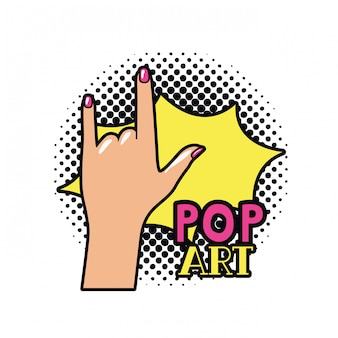 Mão, com, sinal, rocha, pop art