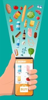 Mão com smartphone com aplicativo de compras