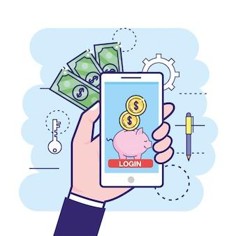 Mão com smartphone e porquinho digital com moedas