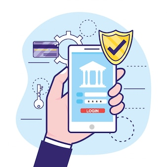 Mão com smartphone e senha de segurança do banco